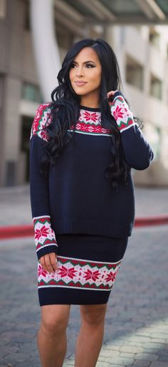 Christmas fair isle sweater and skirt set. Love this outfit that can be dressed up for Sunday with some heels or a casual day with some cute sneakers.