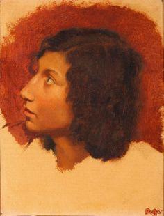 Edgar DEGAS (1834-1917) Tête de jeune garçon italien, 1856-1857 Huile sur carton marouflé sur toile, timbre de l'atelier en bas à droite. 22,6 x 17,7 cm  Provenance : - 4ème vente Atelier Degas, Galerie… - Gros & Delettrez - 19/06/2015