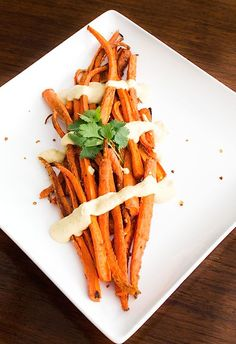 Cumin Roasted Carrots w/ Hummus Sauce {vegan, gluten-free, easy recipe}