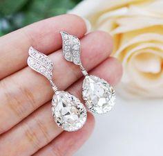 Mariage bijoux boucles d'oreilles de mariée demoiselle d'honneur Dangle boucles d'oreilles LUX Cubic zirconia boucles avec claire blanc Swar...