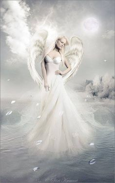 Moon and Angel in white