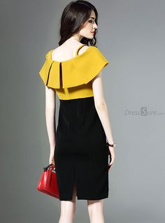 Buy Elegant Color-Blocked Slash Neck Bodycon Dress with High Quality and Lovely Service at DressSure.com