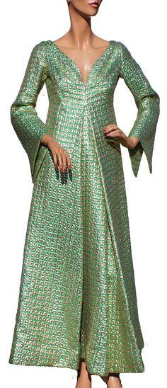 1960s Paris Couture Ball Gown Green & Gold Metallic Brocade Dress Ladies Size Medium