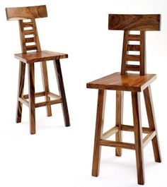Natural Furniture Bar Stool Wood Seat With Back