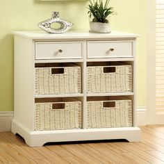 Hokku Designs Hokku Designs Garth Basket Cabinet with 2 Drawers