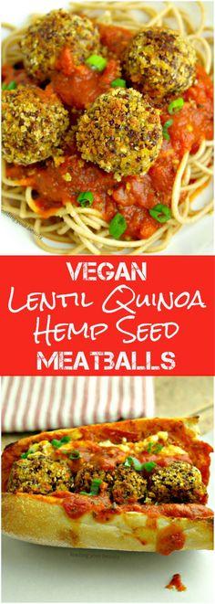Vegan and Gluten Free Lentil Quinoa Hemp Seed Meatballs