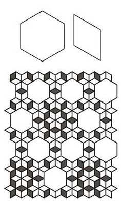 Use both hexagons and diamonds to paper piece this sweet design. Get the free English Paper Piecing Seven Sisters Quilt Pattern.