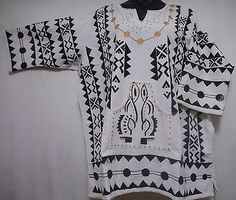 Vintage Men Shirt African Top Mud Cloth Blouse White Black Gold One Size Dashiki