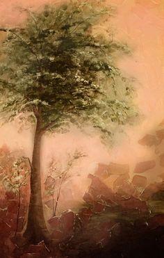 Tree Art - By Linda Linnea - Colors: Green, Peach, Brown Peach And Green, Green And Brown, Olive Green, Color Splash, Shades Of Peach, Creative Colour, Green Copper, Silhouette, Canadian Artists