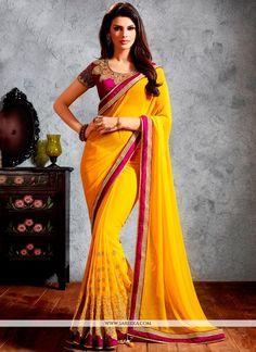 Wonderous Yellow Lace Work Georgette Designer Saree