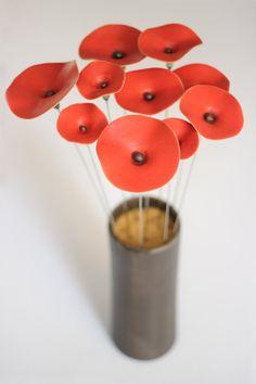 Rouge coquelicot fleur en céramique fleurs bouquet par TzadSheni