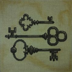 "We love this elegant collage of keys by Associated Talents   Artist: Associated Talents Dimensions: 9""x9"" Mesh Size: 13"