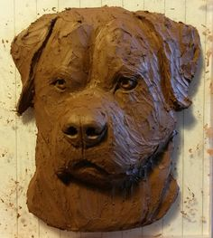 'Rottweiler' relief dog portrait sculpture. Clay master. Jutta M Stiller - A Sculptor's Tails. ©2015