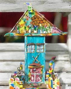 "Vibrant piece from Good Art Guide artist @deanevbowersart find out more about them and their art at www.goodartguide.com . . . ""The Art Cottage."" A colorful reuse of salvaged wood wire and old broken paint brushes! #art #artist #folkart #paintbrushes #salvagedwood #artcottage #colorful #abmlifeiscolorful"