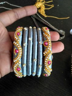 Silk thread bangles Pls mesg me in what's app 9603132823 Silk Thread Bangles Design, Silk Thread Necklace, Silk Bangles, Bridal Bangles, Thread Jewellery, Beaded Jewelry, Bangles Making, Jewellery Making, Daughter Necklace