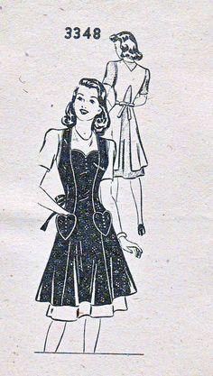 Vintage Orig 1940s  Mail Order 3348 Full Bib Apron Shaped Neckline Heart Pockets Kansas City Star Sewing Pattern Sz Medium Mailing Envelope by BizzieLizzies on Etsy