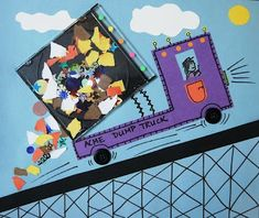 """Dump Truck craft with an old CD case that can open and """"dump"""" the load. Inspired by the book, Truck by Donald Crews. The Art Annex"""