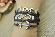 Silver Anchor & Infinity Love charm braceletBrown by Richardwu, $5.50