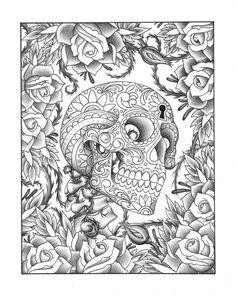 D'habitude les coloriages de têtes de mort me laisse sceptique, mais celui-là…
