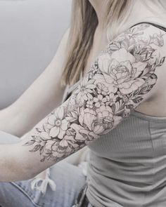 Flower sleeve tattoo