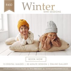 Instagram Post Template Mini Sessions, Photo Sessions, Instagram Post Template, Online Gallery, Digital Image, Winter Hats, Crochet Hats, Clip Art, Templates