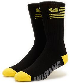 Straight from the grains of Shaolin come the 20th Anniversary Wu-Tang Wu Flag black crew socks