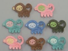 Lot of 8 Crochet Monkey Appliques    Quantity: 8    Color: 1 each of 8 colors shown in picture    Size: approx. 2(W) x 1 1/4(H)    Great for sewing,
