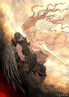 (This could be Arashi and Kyashidi)   天使と悪魔 1 by SENGA | CREATORS BANK http://creatorsbank.com/senga/works/285905