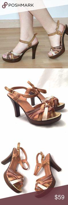 "Passarela Leather MultiColor Brown Strappy Heels Brazil beauties! Very comfortable and classy. Genuine leather from Brazil. Brand new strappy sandals with 4"" heel. Medium width. True to size. Passarela Shoes Heels"