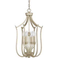 Bring chic style to your den, foyer, or parlor with this elegant pendant, showcasing a gold-hued finish and curved arms. Product: