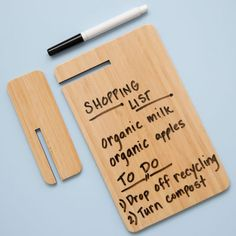 Bamboo Desktop Dry Erase board with Stand. Save paper for my doodles and jots.