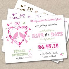 25 x Personalised Wedding Save The Date Cards Vintage Lovebirds *MANY COLOURS*