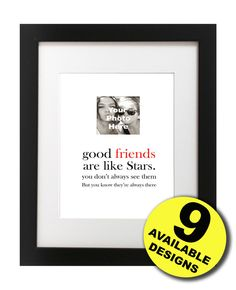 Personalised photo print for Best friend gift, Birthday, True Friendship quote