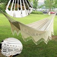 Wish | Outdoor Swing Chair White Cotton Hammock with Tassel (Color: White)