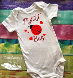 my lil' lady bug bodysuit / little bug / love bug by craftychapeys Baby Girl Items, Love Bugs, Lady Bug, Bodysuit, Trending Outfits, Kids, Clothes, Etsy, Design