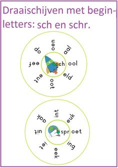 Draaischijven met de letters sch en schr. Leuk te gebruiken bij thema 7 van Lijn 3. Busy Boxes, Spelling Activities, Speech And Language, Preschool Crafts, Art School, Circuit, Teaching, Writing, Math