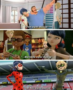 HOW!! JUST HOW DOES SHE NOT SEE IT!!! And it's so cute that he copy's them Adrien is my Idol, he's my role model❤️❤️