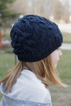 Skalbagge cabled hat for kids by Rachael Gander | malabrigo Rios in Azul Profundo