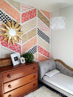 DIY chandeliers, patchwork stenciled wall, and mini-fainting couches as toddler beds! Twin girls' room Reveal! {Sawdust and Embryos}
