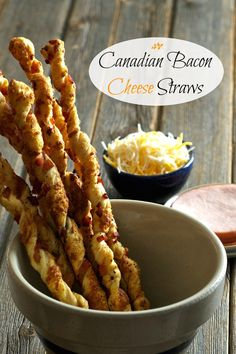 """Canadian Bacon Cheese Straws-easy to make, elegant and delicious -the first appetizer to disappear at any dinner party. A great """"bread"""" with a salad. Canadian Bacon, Canadian Food, Appetizers For Party, Appetizer Recipes, Camping Appetizers, Christmas Appetizers, Pumpkin Pie Oatmeal, Cheese Straws, Frozen Puff Pastry"""