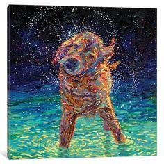 Fingerpainting by Iris Scott (oil).IrisScottFine wet dog dog art painting golden retriever labrador shakin off the blues Painting Prints, Art Prints, Canvas Prints, Wow Art, Finger Painting, Pics Art, Dog Portraits, Animal Paintings, Canvas Artwork