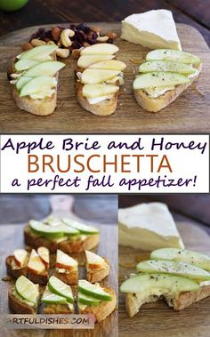 Apple Brie and Honey Bruschetta - a perfect appetizer for the holidays! Take advantage of apple season with this crunchy, sweet, tart and creamy crowd pleaser.  via @https://www.pinterest.com/artfuldishes/