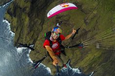 Tom & Horacio flying near Anaho Bay. Nuku Hiva.
