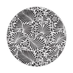 Modern Baroque Floral Black and White Paper Plate