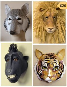 This four-pattern set helps you create realistic paper mache animal masks. Included are a beautiful lion, a wolf, a cat, and a cow. Paper Mache Mask, Paper Mache Crafts, Paper Mache Sculpture, Sculptures, Lion Sculpture, Cardboard Costume, Cardboard Mask, Cardboard Paper, Bird Puppet