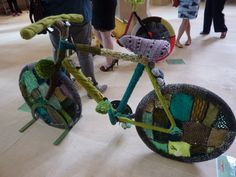 The Patchwork Bike / Book Week 2017 / A good upcycling idea that could be done as a class project and what an awesome display they would make - plus learning about textiles. This bike (I think made in Hebden Bridge) shows the patchwork feel of the Yorkshire countryside
