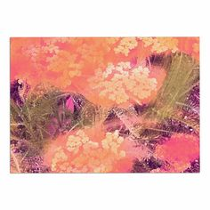 KESS InHouse Nina May 'Yellow Wildflowers' Orange Pink Dog Place Mat, 13' x 18' *** Remarkable product available now. : Dog food container