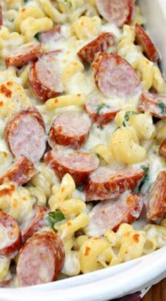 Sausage Alfredo Bake-Great dish!  Only thing I modified was adding bread crumbs just before broiling.