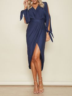 Dark Blue V Neck Slit Sleeve Tie Cuff Wrap Asymmetric Dress