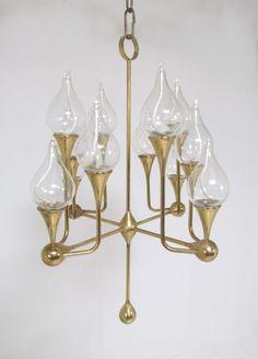Rare Twelve Arm Danish Oil Lamp Chandelier by Freddie Andersen, ca. 1960s image 2